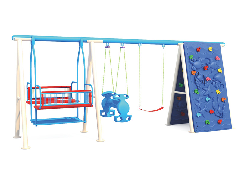 metal swing and slide set