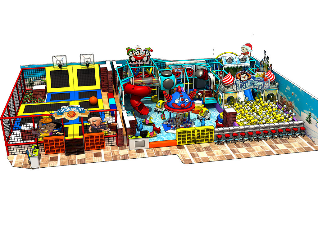 Snow theme multifuctional kids indoor playground equipment