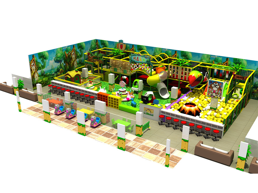 Environmental Green style indoor playground jungle gym with slide