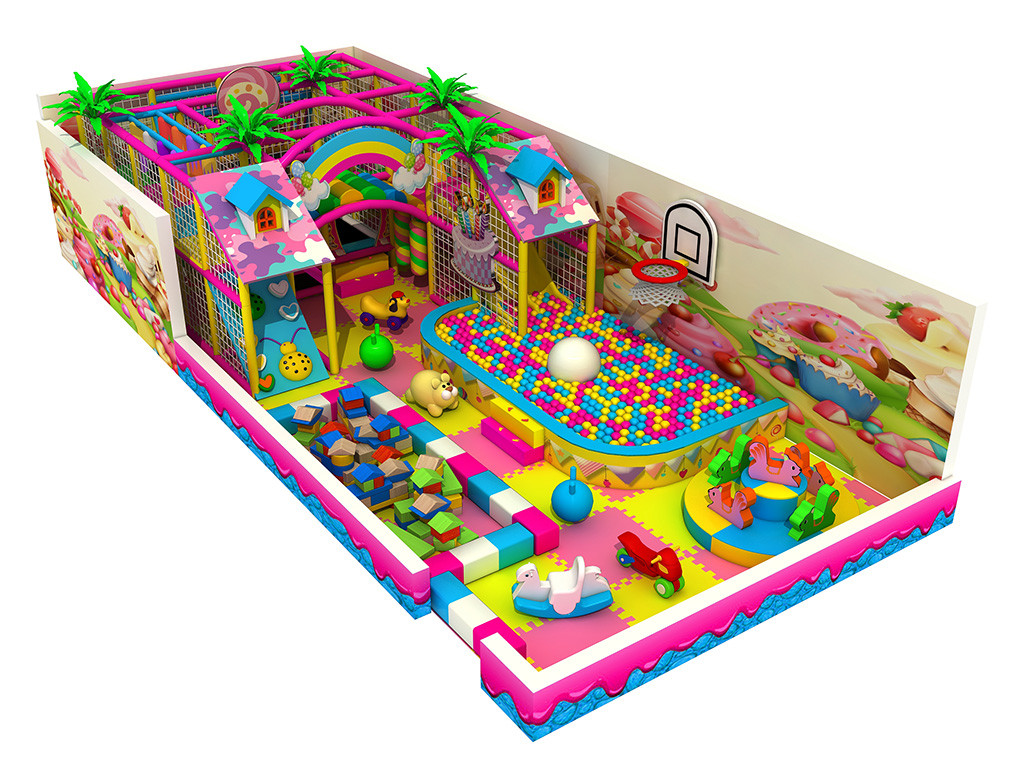 Pink candy theme small size indoor playground/amusement park for sale
