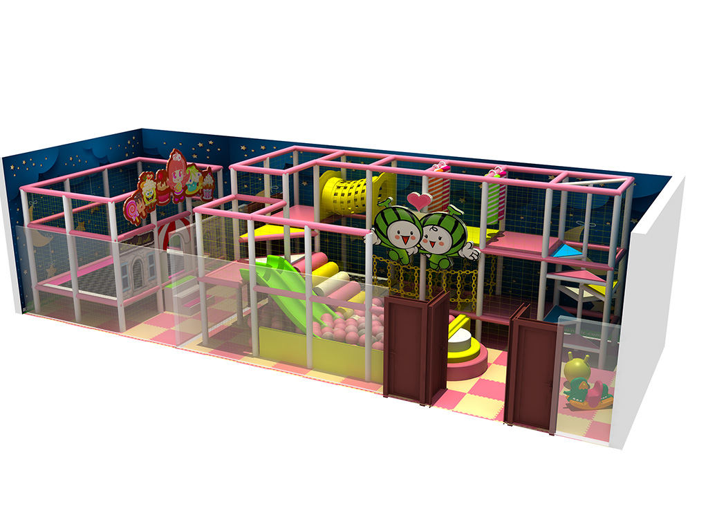 Lovely Pink Indoor playground equipment naughty castle with silde