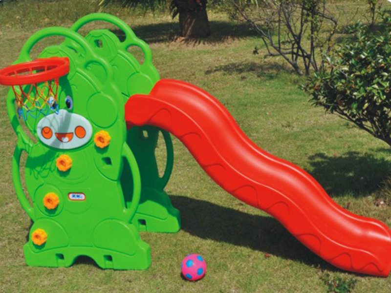 Cheap indoor Plastic children slide with basketball rack for sale