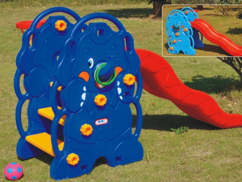High quality indoor Plastic children slide with basketball rack