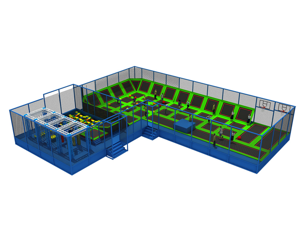 Rectangular Commercial Indoor Trampoline Park/Bungee Jumping Trampoline with Foam Pit from Feiyou
