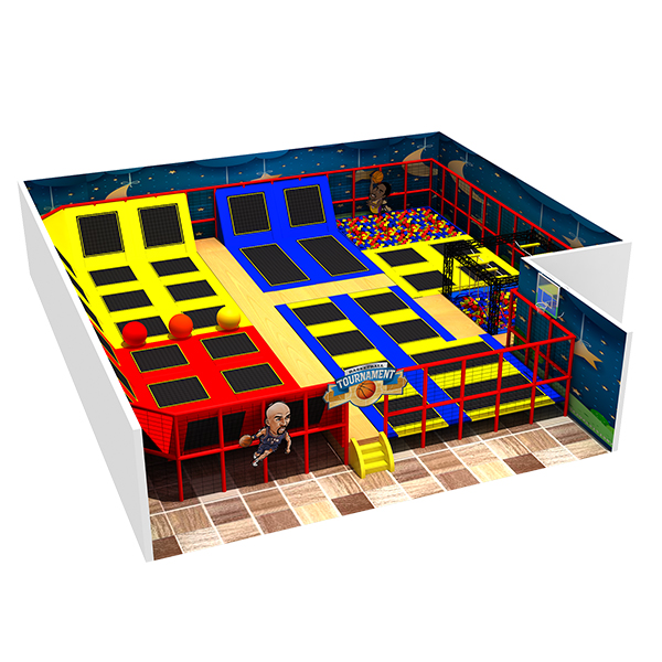 Feiyou Professional trampoline with dodge ball, basketball hoop and foam pit indoor trampoline park